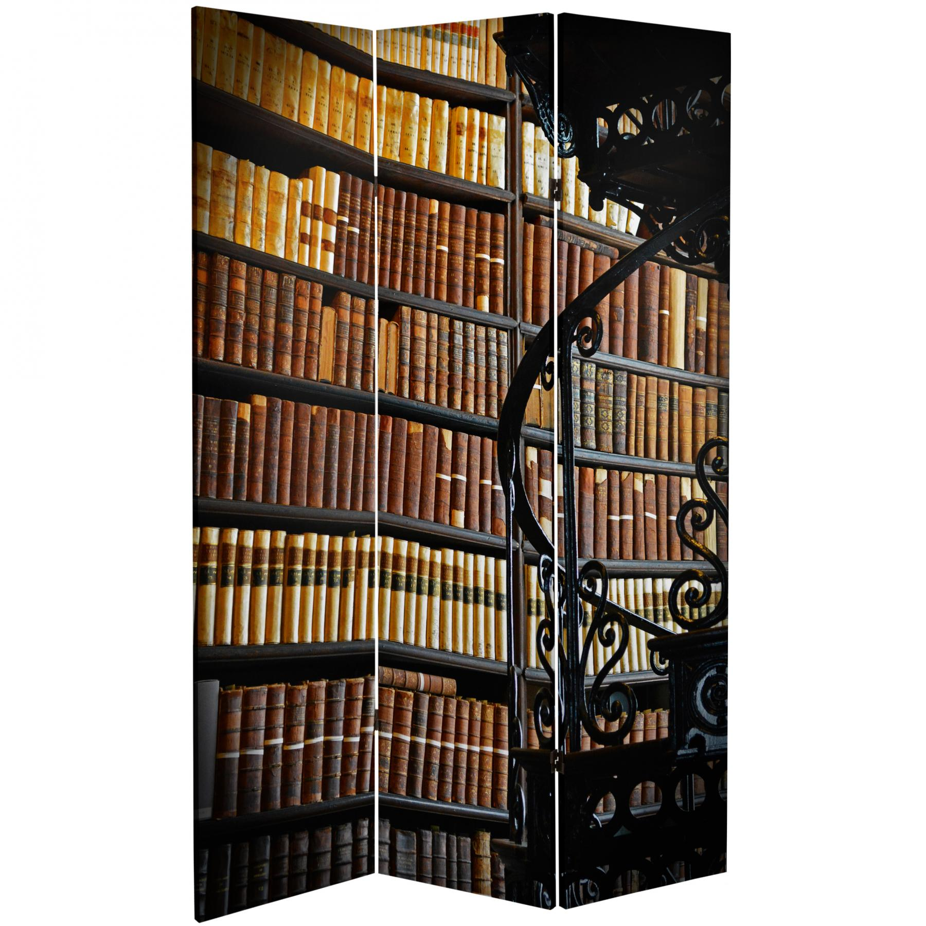 6 ft tall double sided library canvas room divider for Make your own room divider