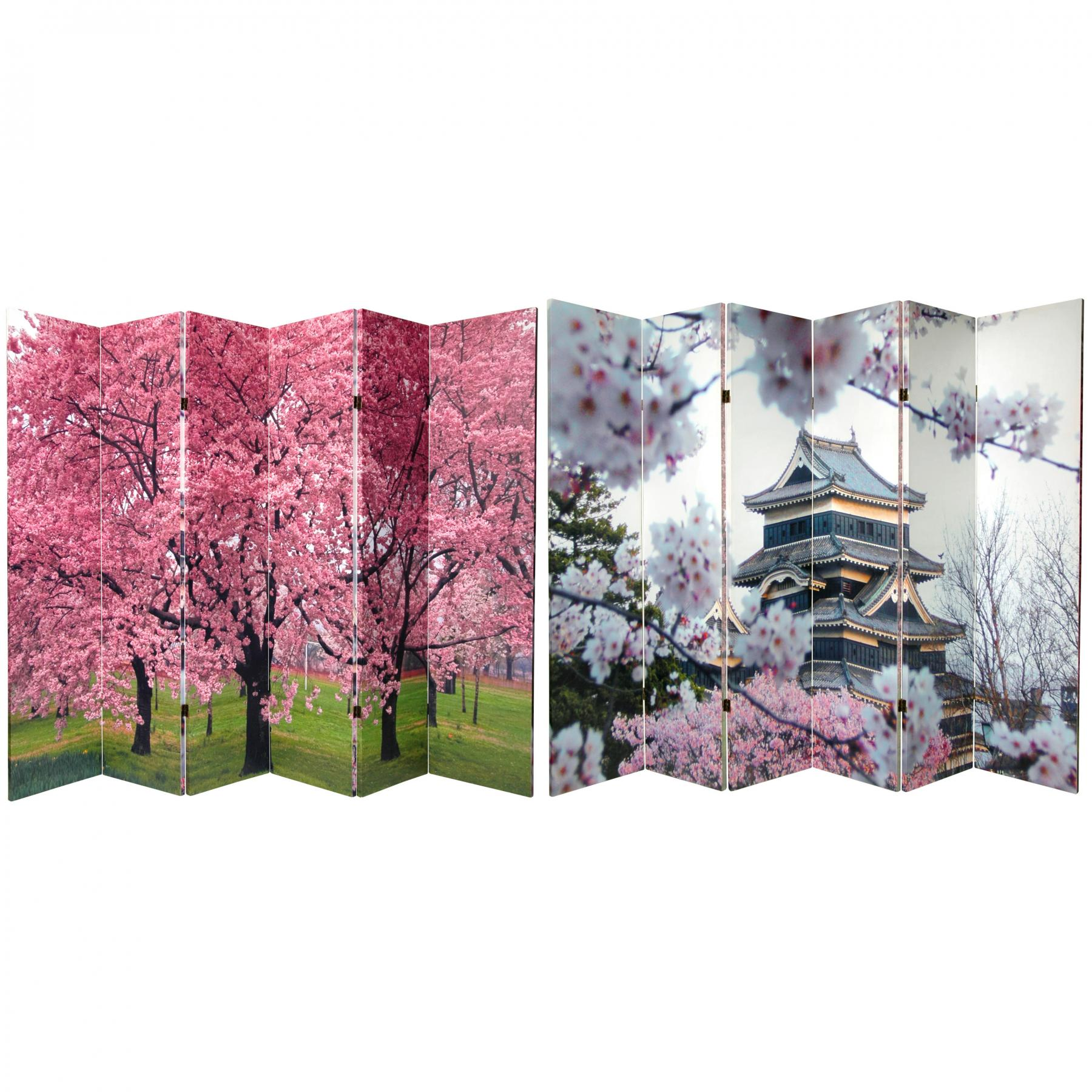 Ft Tall Double Sided Cherry Blossoms Canvas Room Divider - Cherry blossom room divider screen