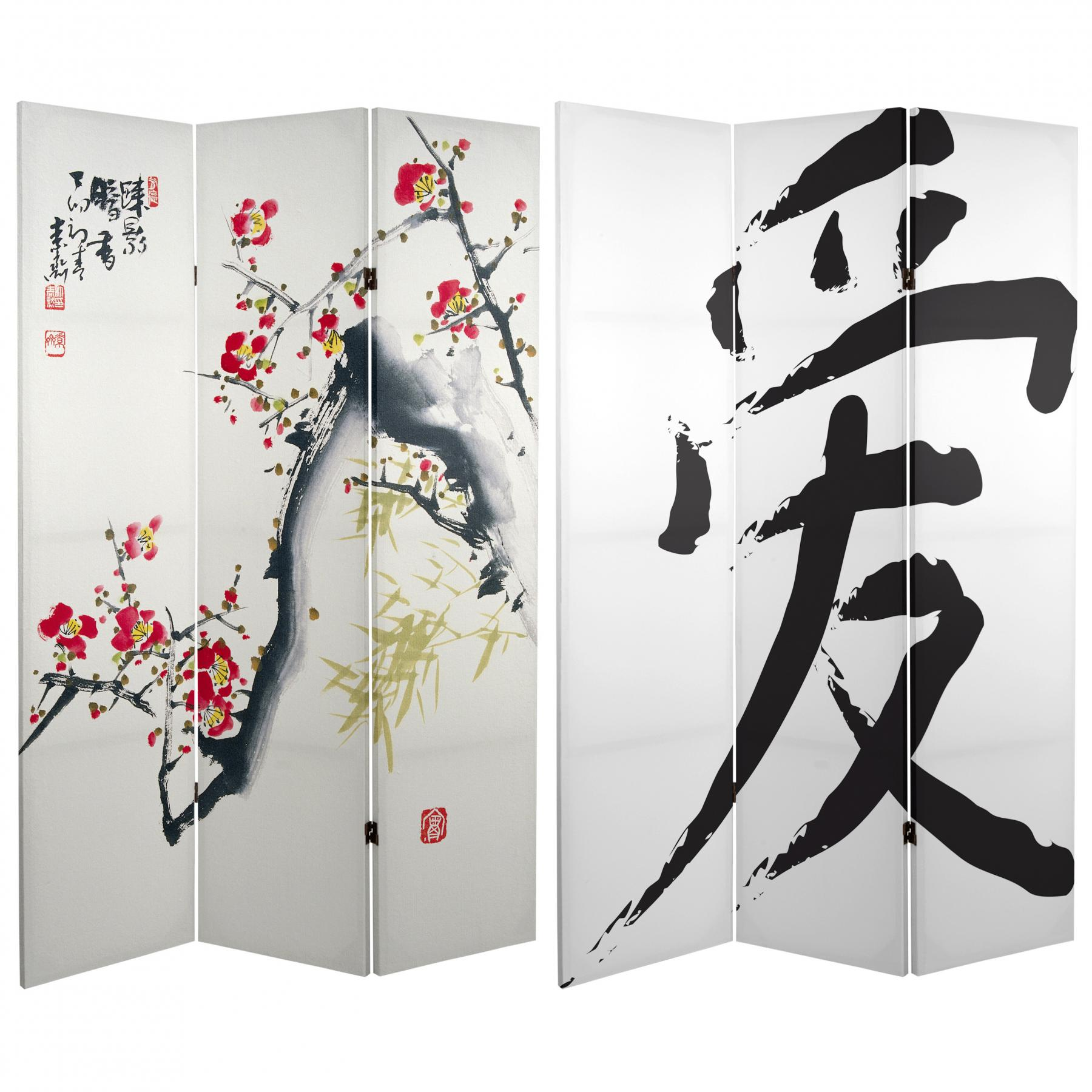 Ft Tall Cherry Blossoms And Love Canvas Room Divider - Cherry blossom room divider screen