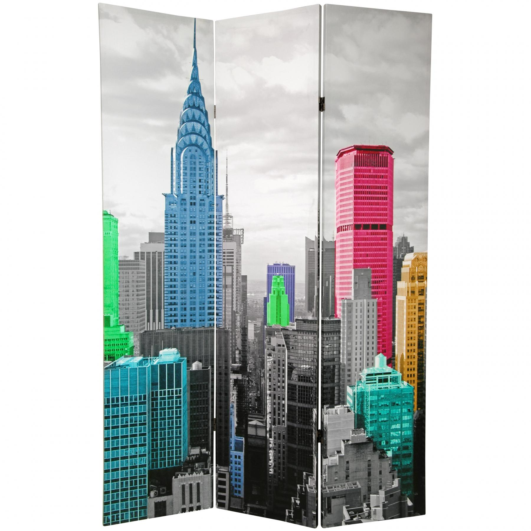 6 Ft Tall Colorful New York Scene Room Divider