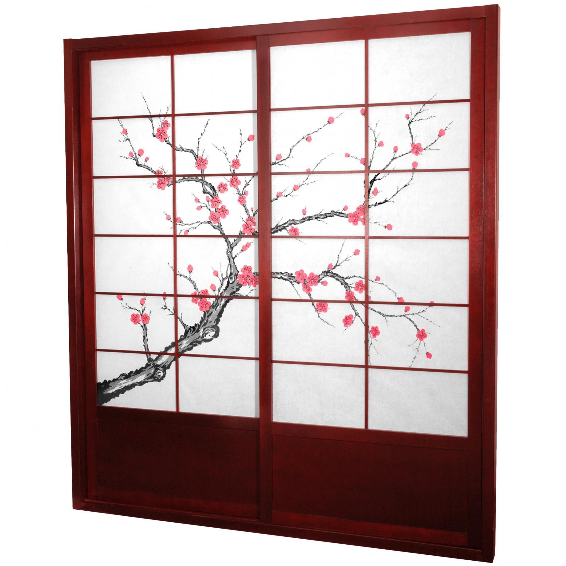 7 Ft Tall Cherry Blossom Shoji Sliding Door Kit