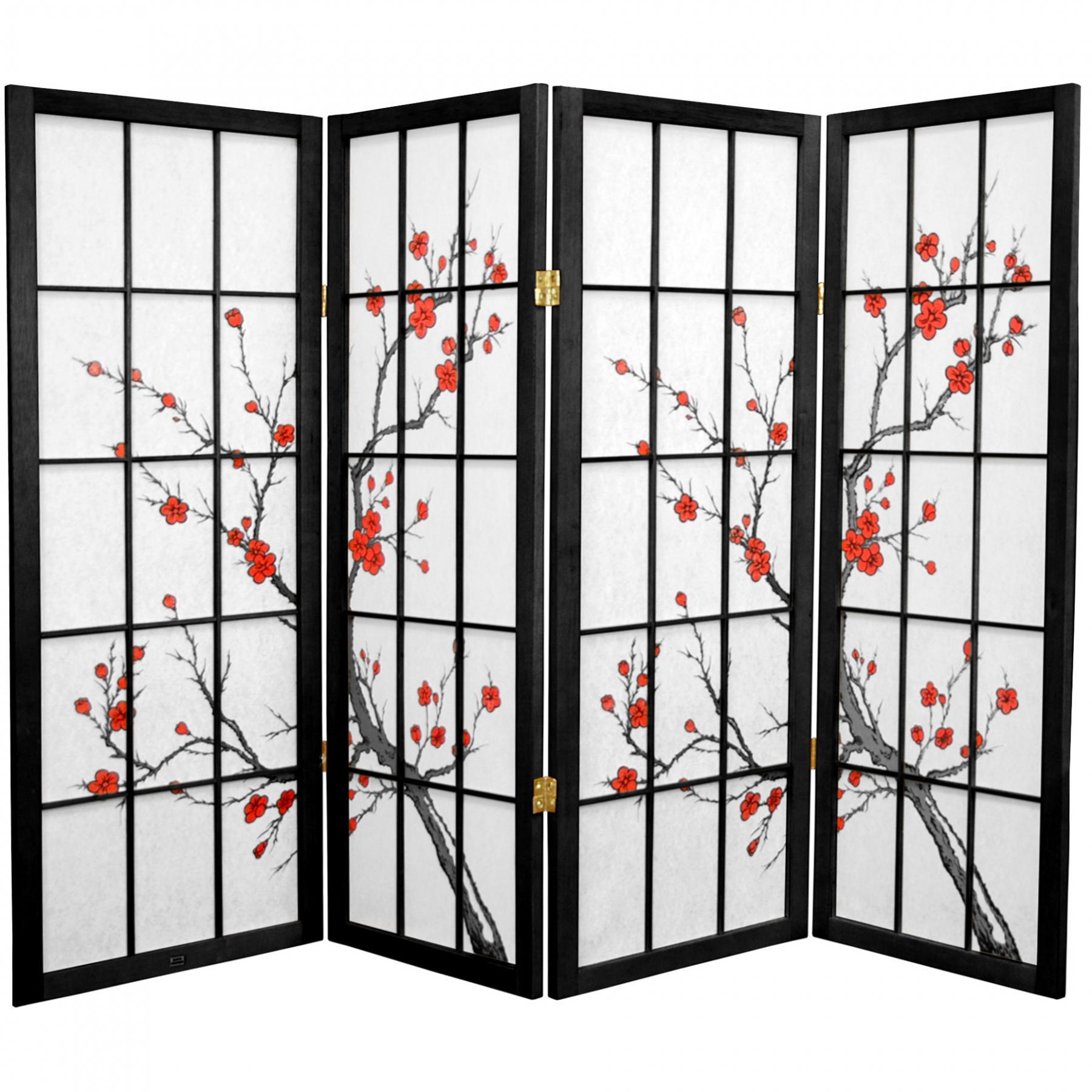 4 Ft Tall Cherry Blossom Shoji Screen