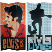 7 ft. Tall Double Sided Elvis Presley Lives Canvas Room Divider - More Details
