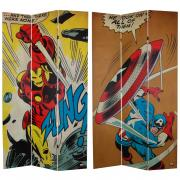 7 ft. Tall Double Sided Captain America/Iron Man Canvas Room Divider - More Details