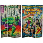 6 ft. Tall Double Sided Fantastic Four/The Incredible Hulk Canvas Room Divider - More Details