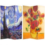 6 ft. Tall Works of Van Gogh Room Divider - Starry Night/Sunflowers - More Details
