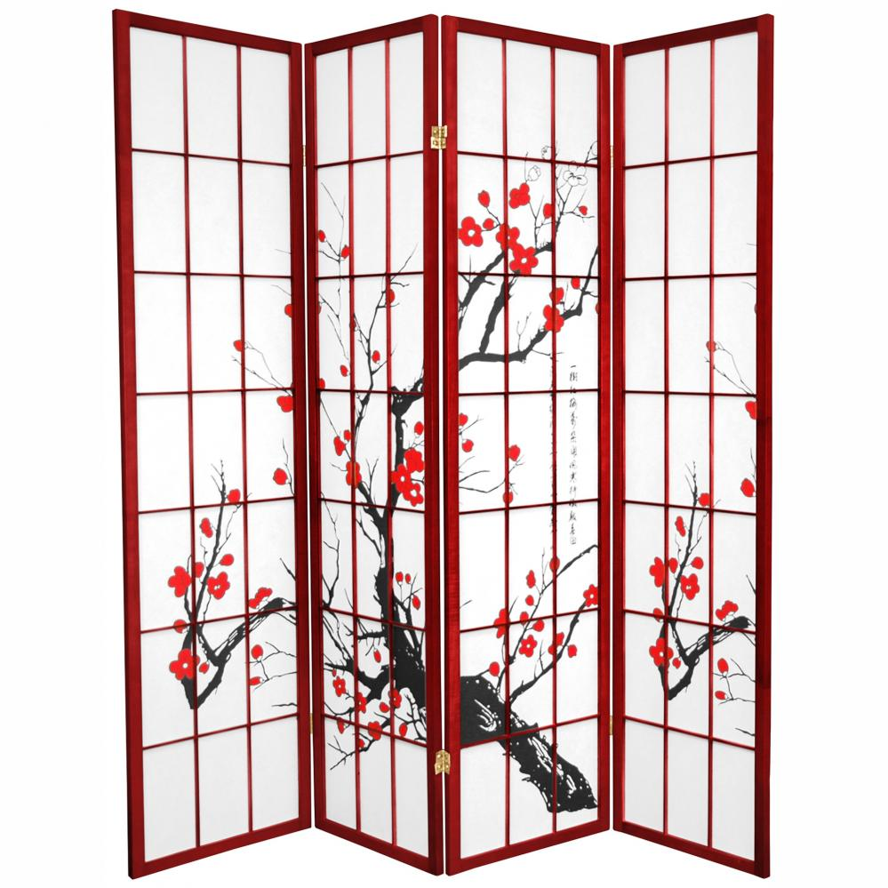 Oriental Furniture 6 ft. Tall Flower Blossom Room Divider - Rosewood - 4P