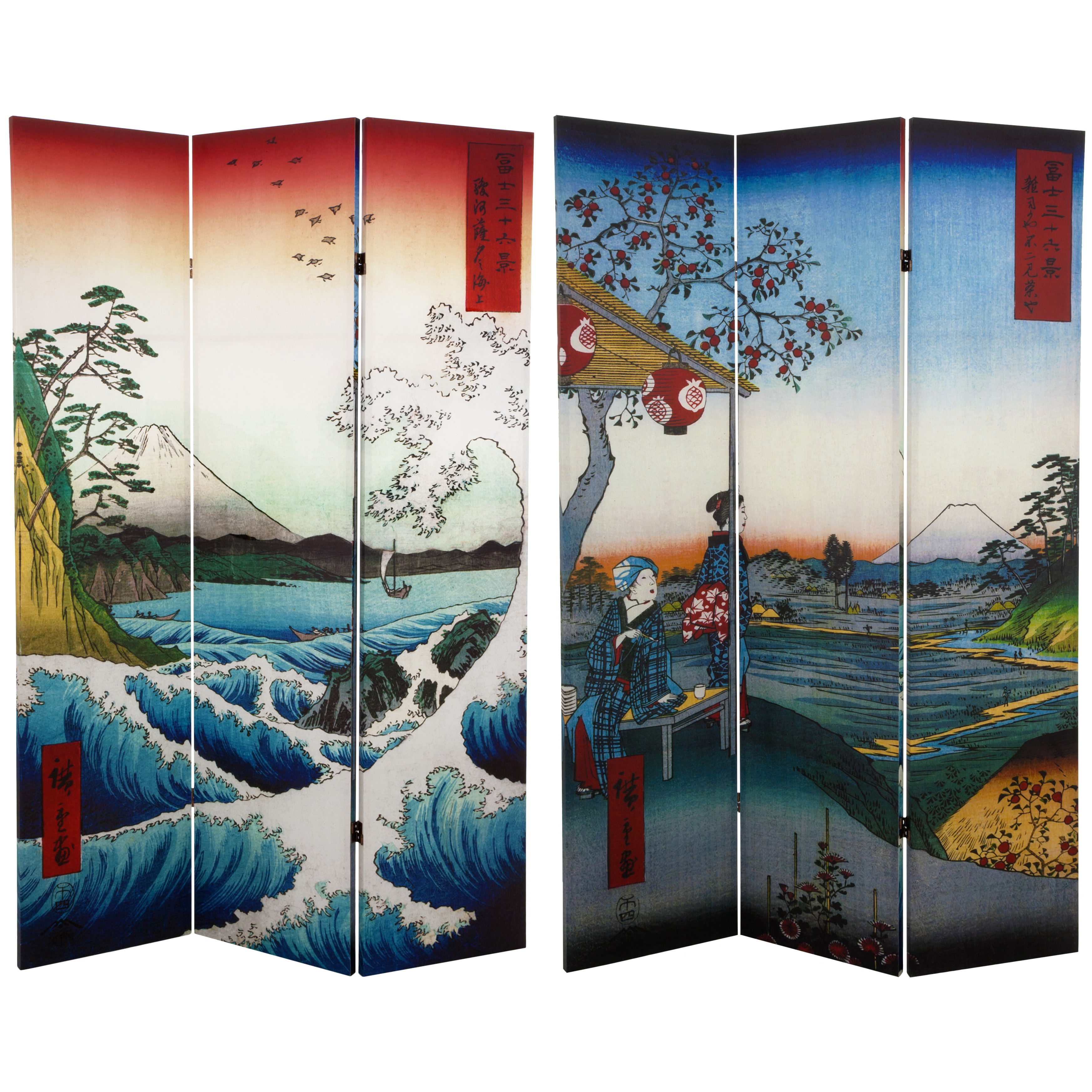 Buy 6 Ft Tall Double Sided Hiroshige Room Divider Sea