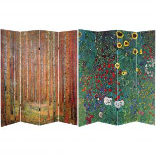 Tall Double Sided Works Of Klimt Room Divider   Tannenwald/Farm Garden